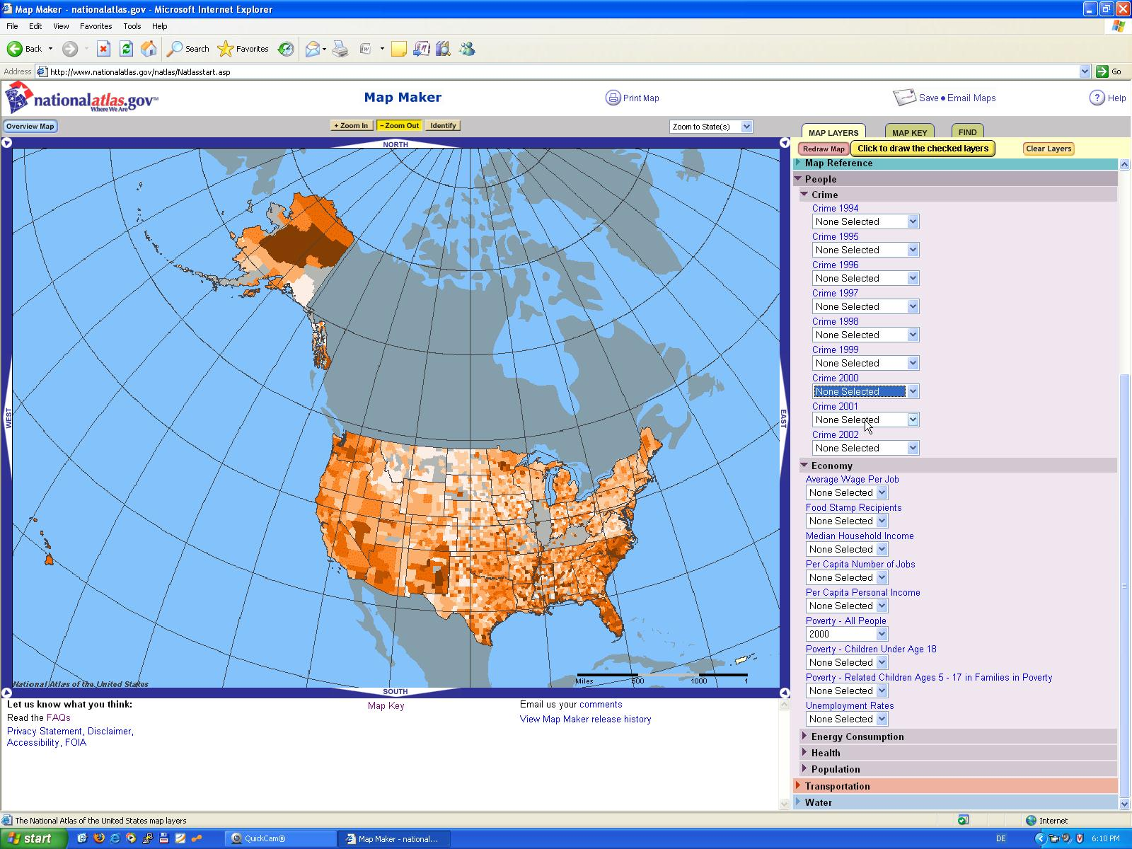 A screenshot of National Atlas